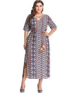 Plus Size Printed Crisscross Maxi Dress - Crystal Cream 3x