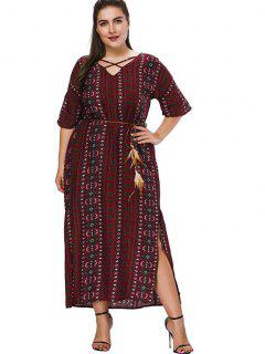 Plus Size Printed Crisscross Maxi Dress - Firebrick 3x