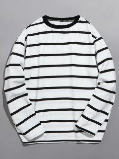 Camiseta Clásica De Manga Larga Con Rotos - Blanco M