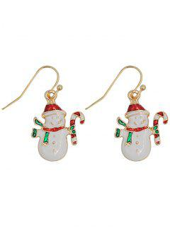 Cute Snowman Alloy Hook Earrings - White