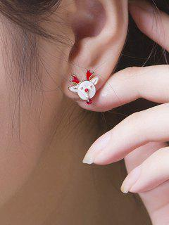 Vintage Christmas Elk Stud Earrings - White