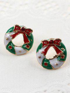 Bowknot Round Christmas Stud Earrings - Multi