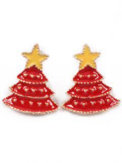 Christmas Tree Star Stud Earrings - Lava Red