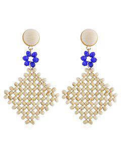 Bohemian Wooden Rhombus Floral Drop Earrings - Blue