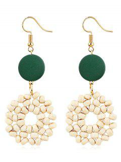 Boho Wooden Round Hook Earrings - Medium Sea Green