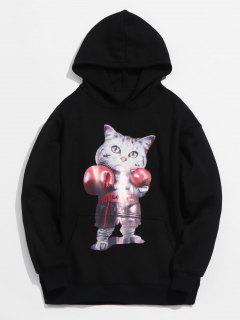 Boxing Kitten Print Loose Fleece Hoodie - Black S