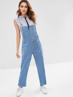 Frayed Pocket Denim Overalls - Denim Blue L