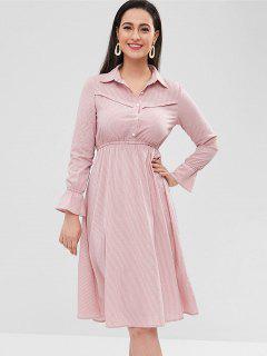 Striped Casual Shirt Dress - Khaki Rose L
