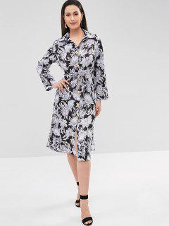 Vestido De Camisa Midi Con Estampado Floral - Multicolor S