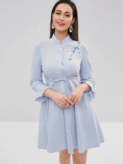 Vestido De Camisa Bordada Con Manga Flare - Azul Claro Xl