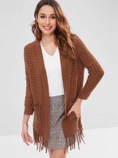 Tassels Embellished Solid Color Cardigan - Brown