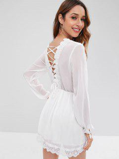 Long Sleeve Lace Up Crochet Applique Mini Dress - White L