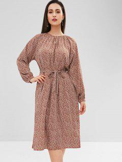 Flower Raglan Sleeve Belted Dress - Cherry Red S