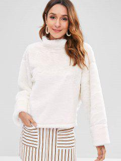 Stand Neck Fluffy Sweatshirt - White S