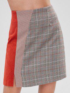 Plaid Corduroy Insert Mini Skirt - Multi S