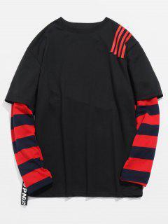 Striped False Two Piece T-shirt - Black L