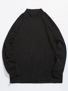 Letter Striped Detail Solid T-shirt - Black L