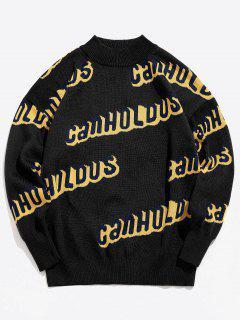 Crew Neck Letter Knit Sweater - Black M