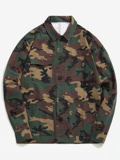 Camo Pockets Button Shirt Jacket - Acu Camouflage Xl