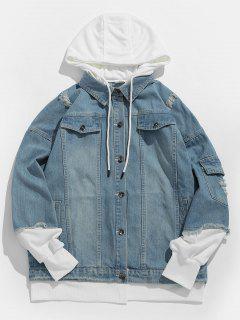 False Two Piece Hooded Denim Jacket - Denim Blue L