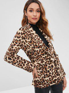Leopard Wrap Blazer - Leopard M