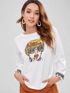 Pom Ball Girl Print Sweatshirt - White