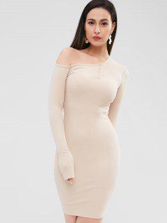 Snap-button Ribbed Bodycon Dress - Warm White M