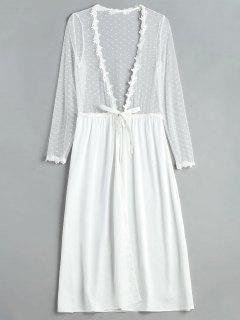 Robe De Lingerie Longue En Satin Tulle Devant - Blanc