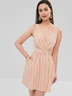 Striped Plunging Pocket Backless Dress - Multi L