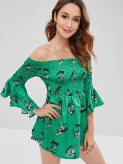 Flower Smocked Bell Sleeve Dress - Light Sea Green L