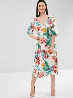 Flower Leaf Plunging Dress - White Xl