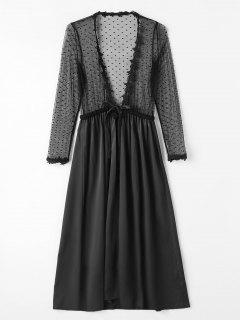 Robe De Lingerie Longue En Satin Tulle Devant - Noir
