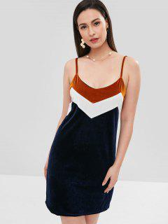 Cami Velvet Color Block Dress - Earth Blue M