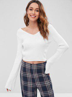 Suéter Recortado Acanalado Con Cuello En V Doble - Blanco