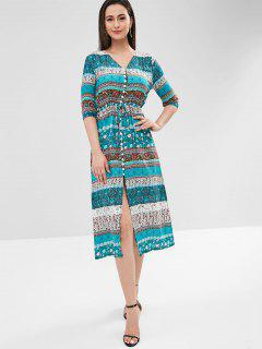 Button Up Printed Midi Dress - Multi-a M
