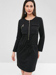 Half Zip Pocket Dress - Black S