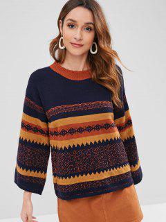 Color Block Geometric Sweater - Multi-a