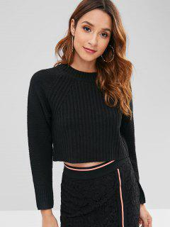 Raglan Sleeve Crop Sweater - Black M