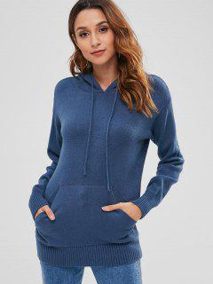 Solid Color Kangaroo Pocket Hooded Sweater - Blue Jay