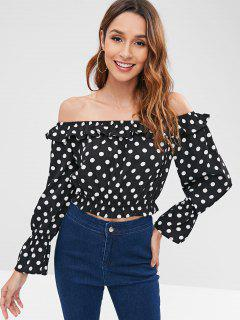 Ruffle Polka Dot Off The Shoulder Top - Black L