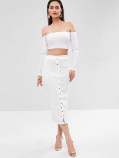 Ribbed Off Shoulder Buttoned Skirt Set - White L