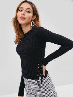 Ribbed Lace Up Fitted Sweater - Black