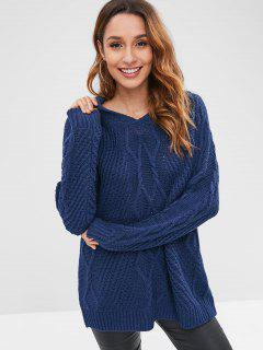 Cable Knit Tunic Sweater - Lapis Blue