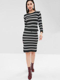 Stripes Knit Top And Slit Skirt Set - Black