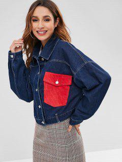 Pocket Drop Shoulder Denim Jacket - Denim Dark Blue S