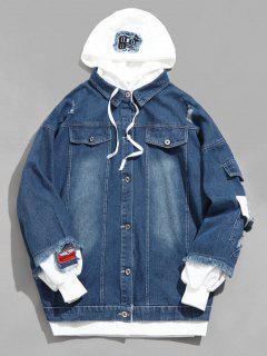 False Two Piece Denim Jacket - Bleu Profond L