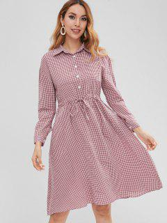 Long Sleeve Gingham Shirt Dress - Red Wine S