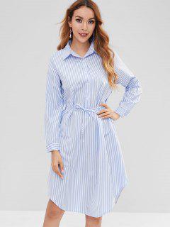 Striped Half-button Shirt Dress - Multi M