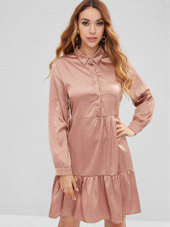 Buttons Flounce Shirt Dress - Champagne S