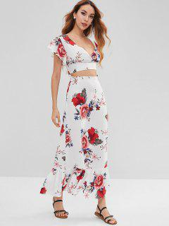 Knotted Cropped Floral Top Set - White S